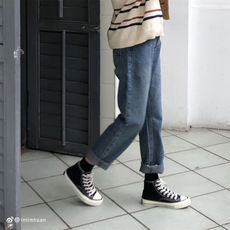 Lu Xiao Tuan Tuan 2019 Korean version was thin retro old torn edge wild high waist straight wide leg jeans children