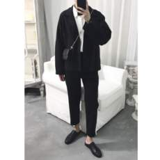 A tea and Agu black retro simple lapel silhouette literary casual simple autumn and winter new jacket set