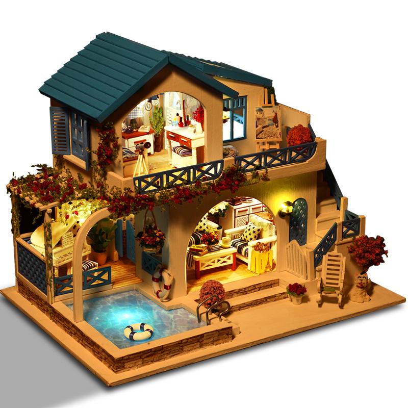 那家手工diy小屋别墅蓝白小镇房子模型拼装女孩