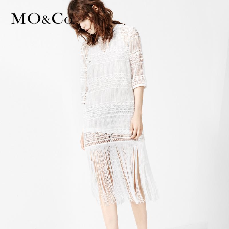 MOCO连衣裙春七分袖两件套欧美复古镂空流苏长裙MA161SKT21摩安珂