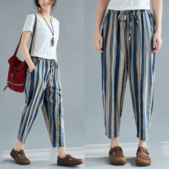 Summer new style literary vertical stripes cotton and linen pants loose large size casual pants was thin elastic waist nine points harem pants