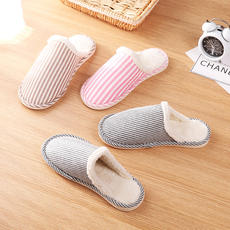 Winter thick cotton slippers Home minimalist striped couple slippers indoor plus velvet thick bottom warm men and women slippers