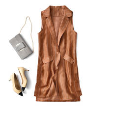 Have you ever seen such a vest? Lightweight silk fabric Three-color Long vest Magnidad eat rice