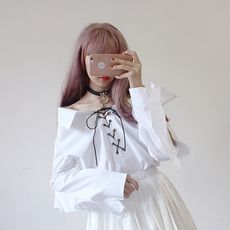 Spring Wear Japanese Women's College Loose Shirt Word Shoulder Lace-up Ruffled Shirt Shirt ulzzang