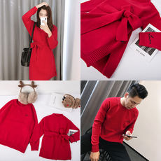 LUSON winter parent-child wear new red sweater family three family four-family full-year clothing