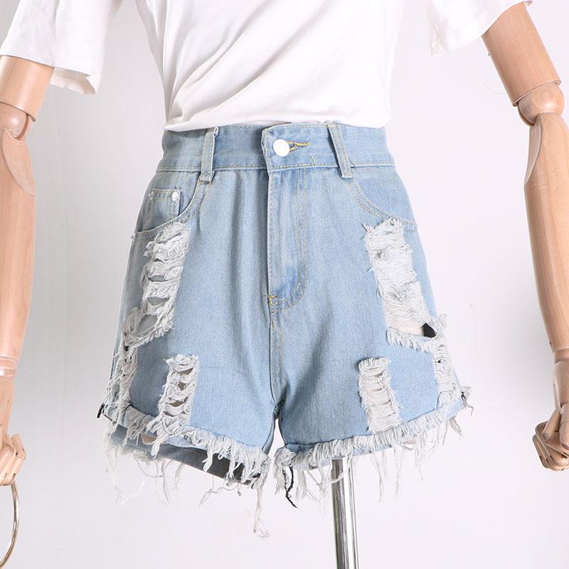 G@02水洗磨白破洞流苏牛仔裤夏季时尚百搭潮流女装短裤Q