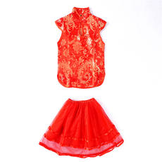 36718 summer new big boy parent-child Tang suit Chinese style retro jacquard mesh skirt two-piece suit September 6