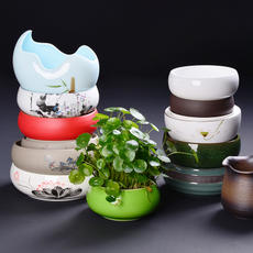 Kung Fu tea accessories large tea wash ceramic bowl narcissus water culture pot tea table decoration tea cup storage