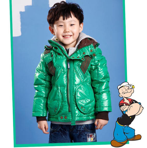 Anti-season children's warm children's clothing Popeye boy short section thick down jacket in the big boy waterproof winter jacket