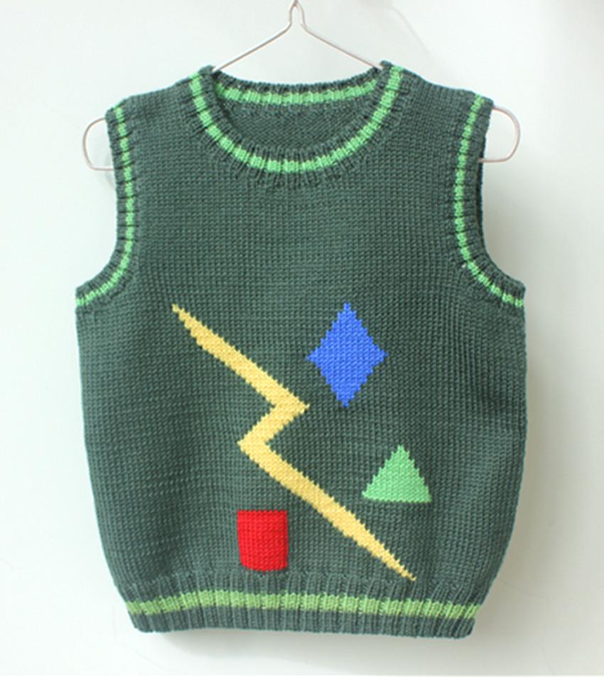 手工编织婴幼儿羊毛衣背心 儿童马夹 春秋宝宝无袖毛线坎肩