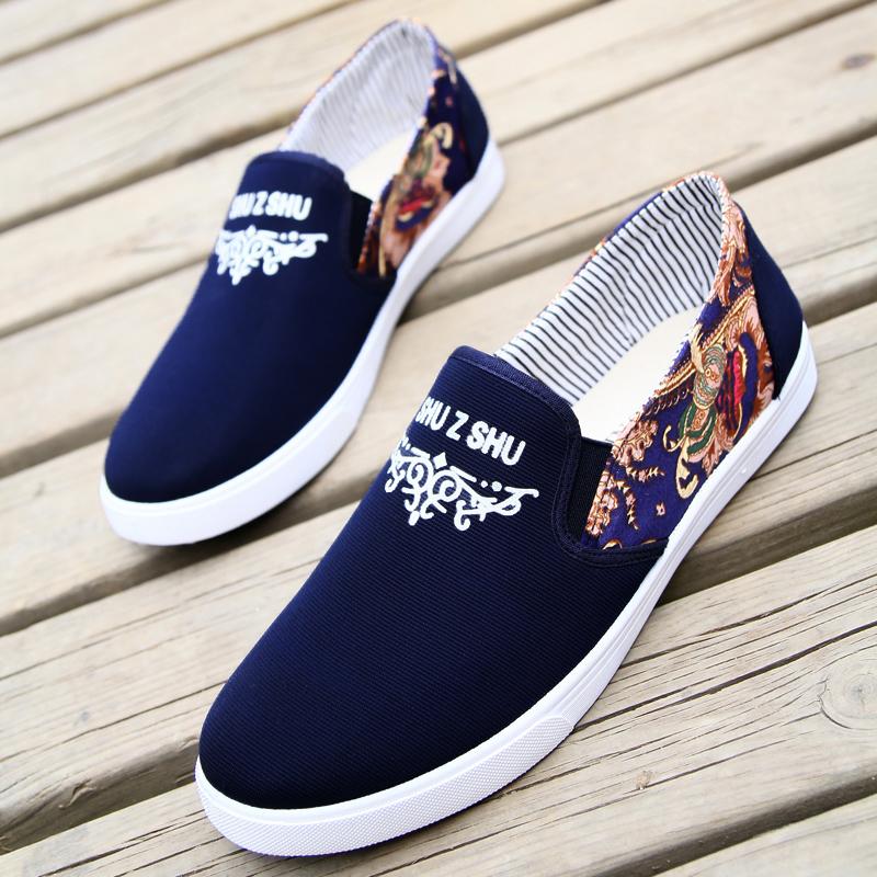 布鞋男 夏季休闲男鞋 韩版潮帆布鞋 鞋子男 老北京懒人鞋透气板鞋