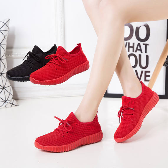 Spring single shoes new running shoes female flat couple Korean version of women's shoes casual shoes breathable sports shoes small red 孏