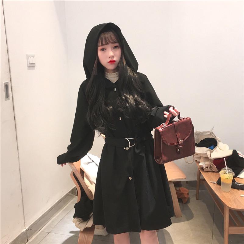 秋冬新款韩版休闲气质灯笼袖连帽中长款外套女装宽松系带收腰风衣