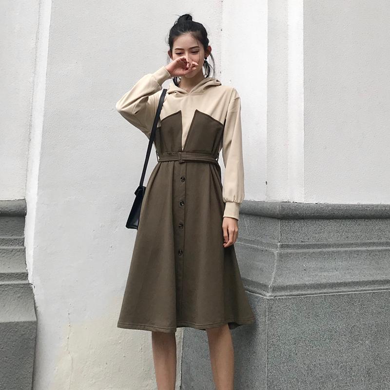 港味复古chic韩版连帽撞色拼接单排扣收腰显瘦气质卫衣连衣裙女潮
