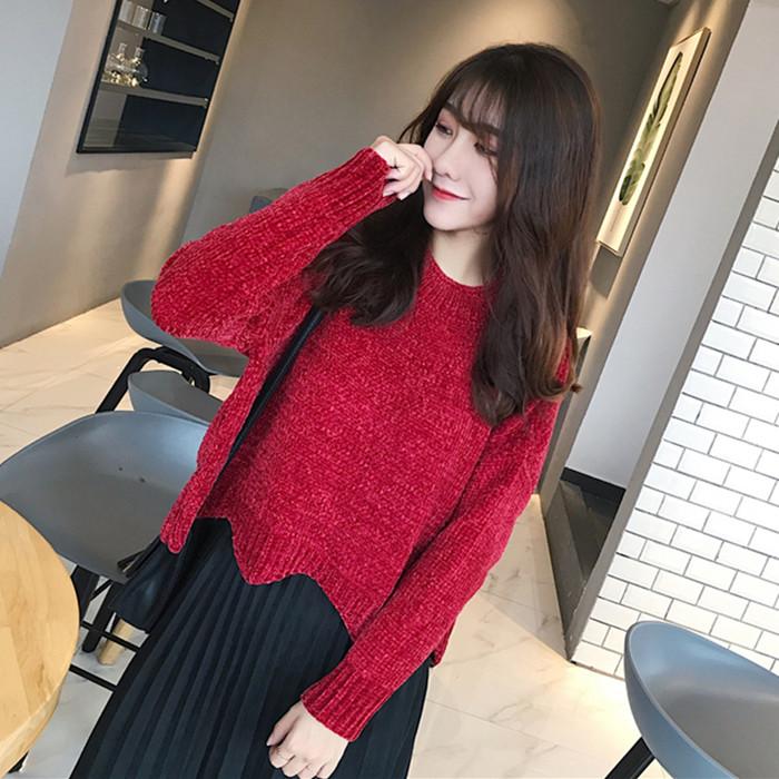 冬装新款韩版雪尼尔雪花绒不起球软糯波浪边蝙蝠袖短款毛衣外套女