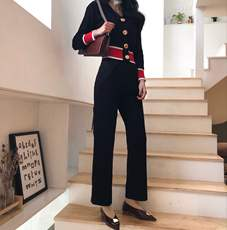Spring new 2018 Hong Kong chic Slim Slim long-sleeved color shirt + high waist wide leg pants knitted suit