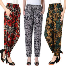 Daily specials middle-aged women's Lantern pants thin summer ice silk mother pants loose large size elastic casual nine pants