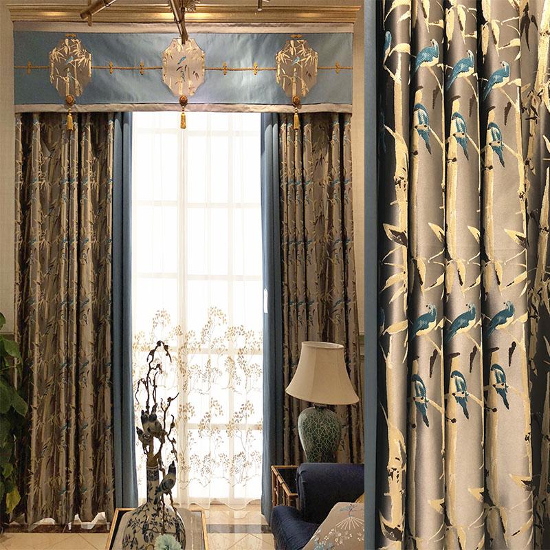竹子 小鸟 新中式窗帘新古典现代窗帘 高精密绸缎遮光客厅窗帘纱图片