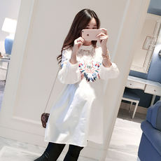 Pregnant Maze tide outfit 2018 maternity dress spring new shirt Korean pregnancy pregnant women shirt casual cotton wild