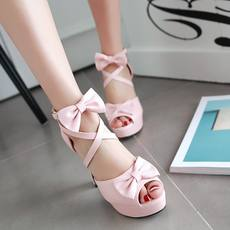 2018 summer new straps sweet high heels sexy fish mouth women's sandals bow ladies thick with women's shoes