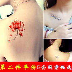 Dilan Tattoo Sticker Waterproof Female Lasting Net Red Sexy Korean Simulation Small Fresh Cute Letter Clavicle Sticker Male