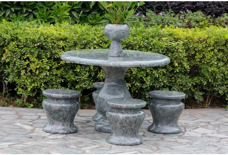 【鼎信】华安玉九龙壁天然石桌石凳室内庭院园林户外花园圆桌包邮
