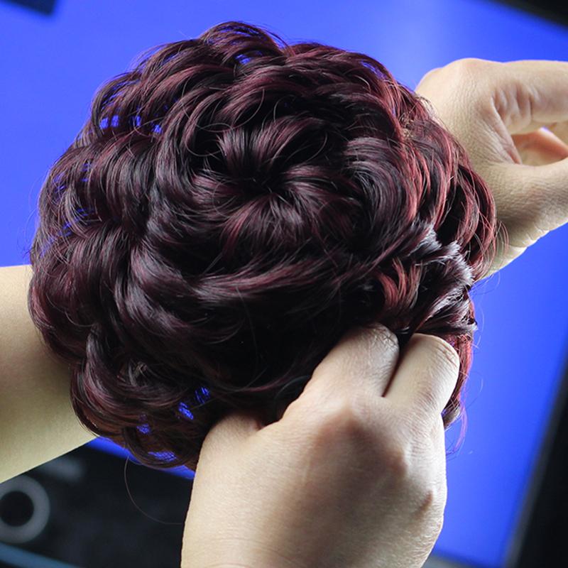 人气假发女新款饰品盘发包造型器百变蓬松鸟窝绑带丸子新品酒红色