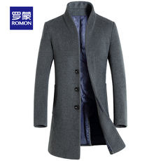 Romon/Romon business woolen coat men's autumn and winter long woolen coat young and middle-aged men's coat