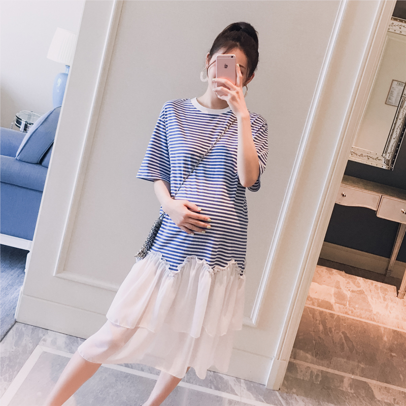 孕妇装2019夏装新款韩版雪纺拼接条纹拼色时尚孕妇短袖T恤连衣裙