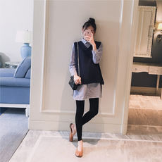 Maternity wear 2018 autumn new Korean version of the lapel striped shirt vest fashion loose pregnant women two-piece shirt