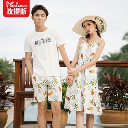 三亚沙滩情侣装夏装连衣裙小众设计感吊带裙海边度假短袖T恤套装
