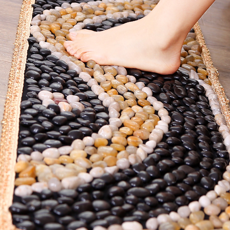 鹅卵石地垫足底按摩垫浴室雨花石脚垫坐垫石头子路指压板足疗走毯