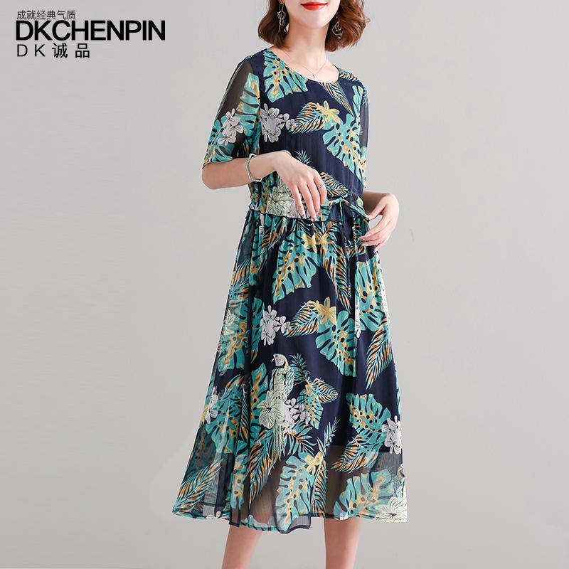 雪纺连衣裙女夏季印花长裙2019新款很仙的气质宽松收腰中年裙子潮