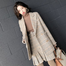 Daxi homemade 2018 spring houndstooth suit collar raw long woolen wool coat female pleated skirt