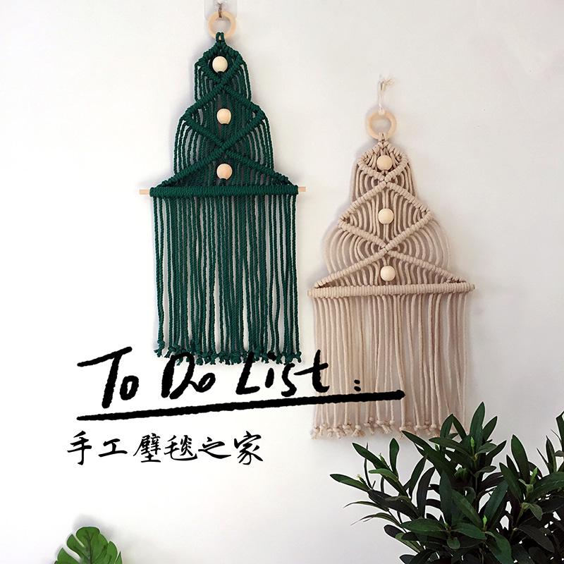 圣诞老人圣诞树挂毯雪花片北欧ins卧室墙面装饰手工编织diy材料包