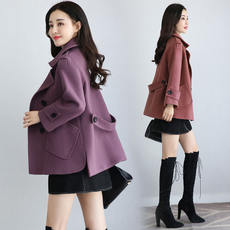 2018 spring new Korean version of the short small woolen coat female long loose double-breasted woolen coat