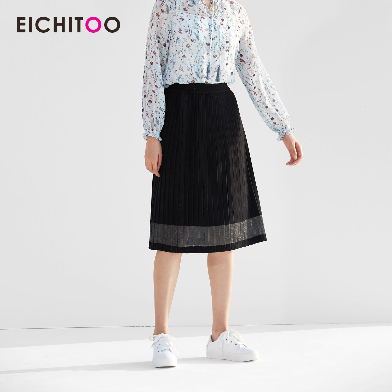 2018爱居兔春装新款女装时尚A字版型压褶针织衫裙