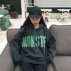 Autumn clothing female 2018 new Korean version of chic loose wild hooded letter printing plus velvet thick sweater female student