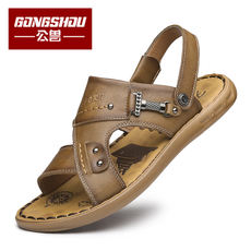 2018 new summer men's sandals leather beach shoes men's casual leather non-slip dad men's large size