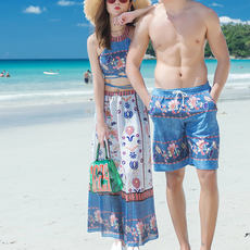 Thailand seaside resort split skirt-King angle conservative three-piece couple lovers large size swimsuit female beach pants men