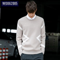 WOOG2005 Korean version of the round neck pullover men 2018 autumn trend sweater men's sweater thick sweater