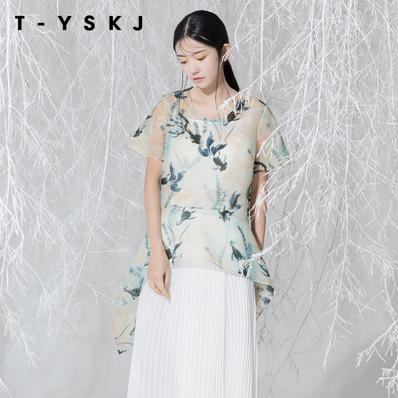 真丝透气雪纺衫女短袖遮肚子洋气超仙白色很仙的T恤上衣显瘦夏季