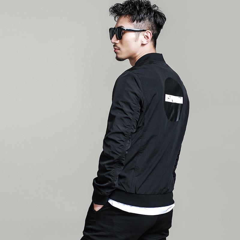 素劲新款潮牌短款修身夹克男秋季长袖 黑色棒球领小外套 JK20187