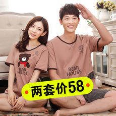 Summer female models cotton large size cartoon couple pajamas men's short-sleeved cotton female pajamas home service suit Korean version