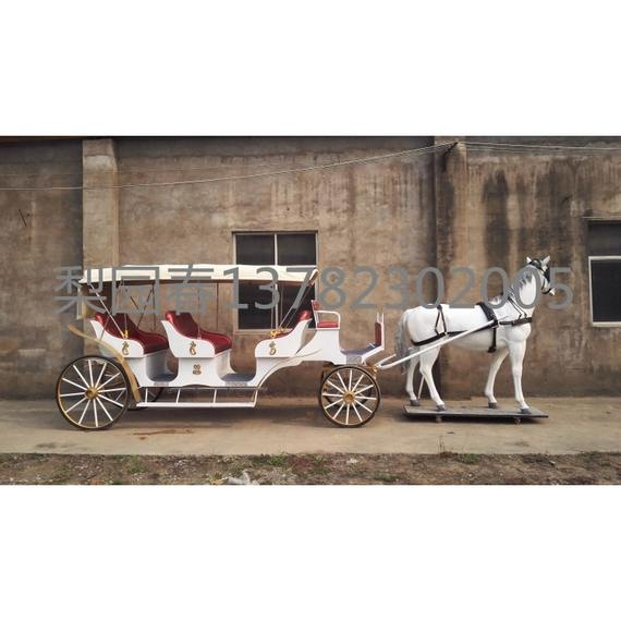 White imitation copper three-row European sightseeing carriage Touring the exhibition high-end reception European carriage