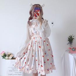 夏季女装学生日系小清新可爱吊带裙子连衣裙两件套防晒衫中长款萌