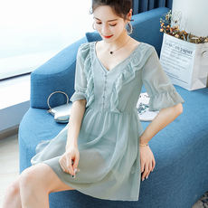 Custom blue language 200 kg large size women's fat mm summer dress ageing jacket micro fat sister foreign short chiffon shirt