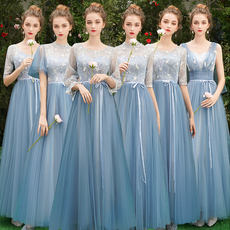 Blue bridesmaid dress long section 2019 new summer Korean version of the thin bridesmaid sisters skirt party graduation dress