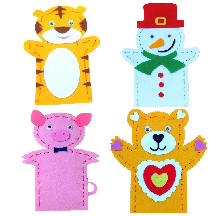 儿童益智玩具diy卡通手偶 针线缝制手套玩偶讲故事道具不织布玩具