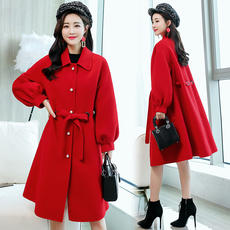 Autumn and winter Korean version of the Lantern sleeves large size with a thin Hepburn woolen coat female long section Sen woolen coat